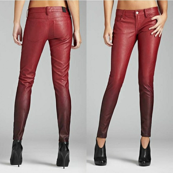 0b23394b5d08d Guess Pants - GUESS skinny Faux Leather Ombre Pants